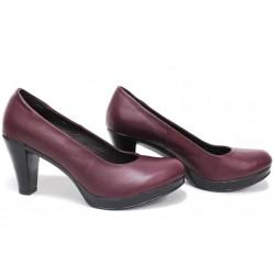 Дамски анатомични обувки на висок ток, естествена кожа, български обувки / Ани 165-6843 бордо / MES.BG