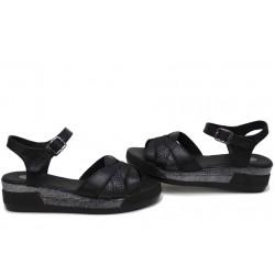 Анатомични дамски сандали на платформа, естествена кожа със змийски ефект / Ани 202-8218 черен кожа-питон / MES.BG