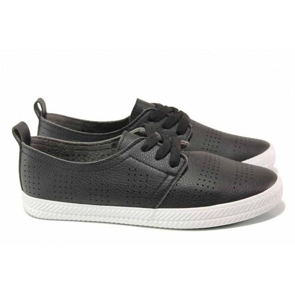 Кожени спортни обувки, перфорация, еластично ходило, връзки / Ани 30387-1 черен / MES.BG