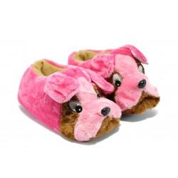 Юношески домашни пантофи - кученце КА А5 розов