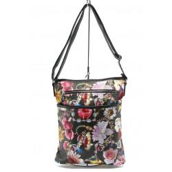 Дамска чанта СБ 1022 черна на цветя