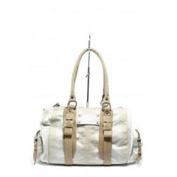 Дамска чанта от естествена кожа ИО 5 бяло-бежово