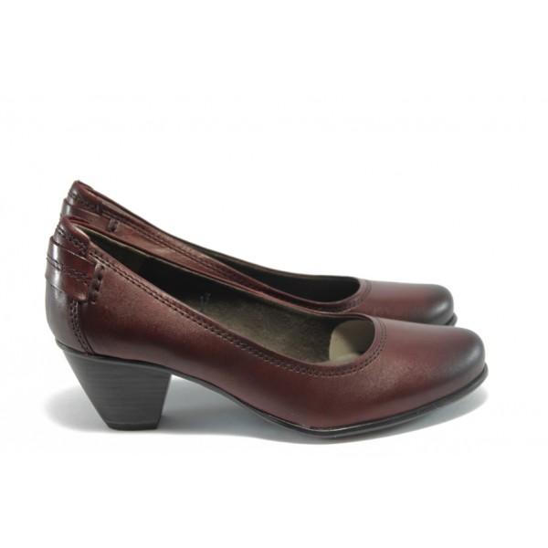Немски обувки на ток естствена кожа Jana 22404Бордо