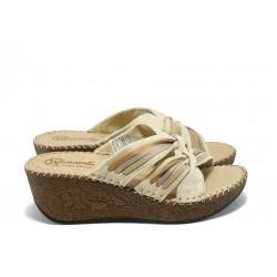 Дамски анатомични чехли от естествена кожа ГР 501254 бежови
