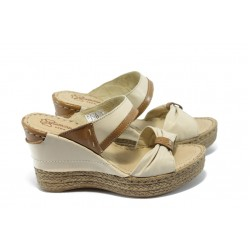 Български анатомични чехли от естествена кожа ГР 505176 бежови
