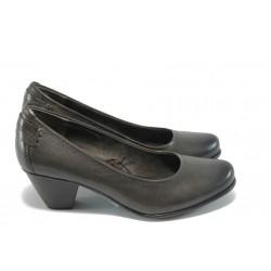 Немски обувки на ток естествена кожа Jana 22404 сив/графит/