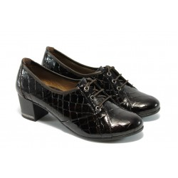 Дамски обувки с връзки на ток МИ 1402 кафе