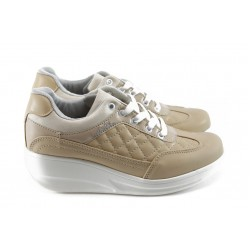 Дамски спортни обувки на платформа МИ 217 бежови