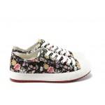 Дамски спортни обувки с връзки ФР R61 черни на цветя