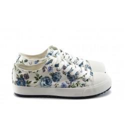 Дамски спортни обувки с връзки ФР R60 бели на цветя