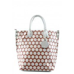 Стилна дамска чанта СБ 1129 червена с бели точки