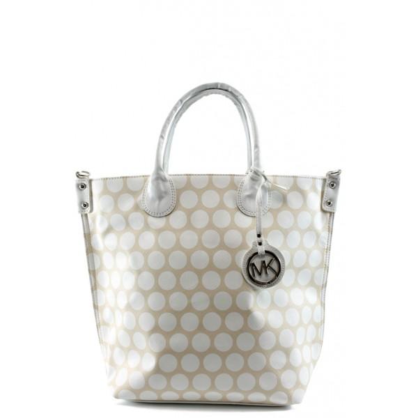 Стилна дамска чанта СБ 1129 бежова с бели точки