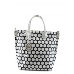 Стилна дамска чанта СБ 1129 синя с бели точки