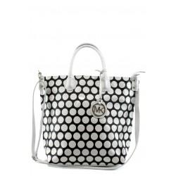 Стилна дамска чанта СБ 1129 черна с бели точки