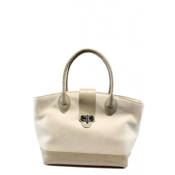 Стилна дамска чанта СБ 1109 бежова кожа