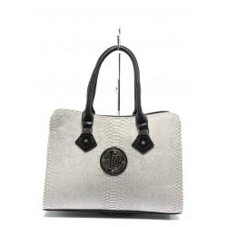 Елегантна дамска чанта СБ 1124 бяла анаконда