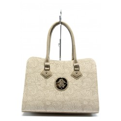 Елегантна дамска чанта СБ 1124 бежова дантела