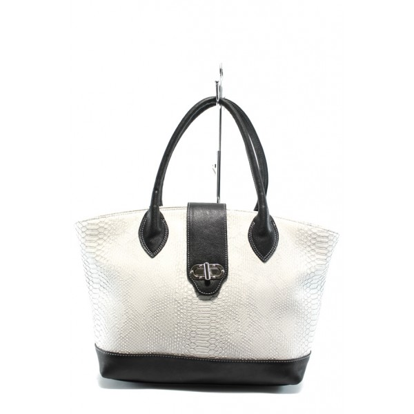 Стилна дамска чанта СБ 1109 бяла кожа анаконда