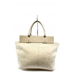 Елегантна дамска чанта СБ 1134 бежова дантела