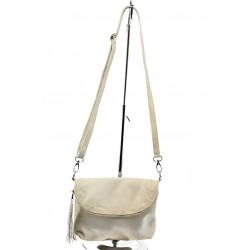 Дамска чанта от естествена кожа с опушен ефект ИО 28 св.бежова