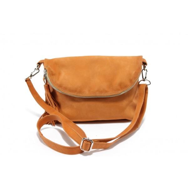 Дамска чанта от естествена кожа с опушен ефект ИО 28 оранж