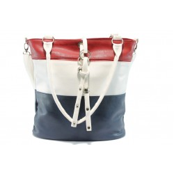 Спортно-елегантна дамска чанта АИ 93 червен-бял-син