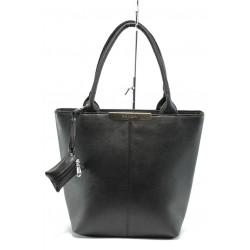 Българска дамска чанта АИ 1036 черна кожа