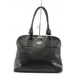 Българска дамска чанта АИ 021 черна кожа дантела