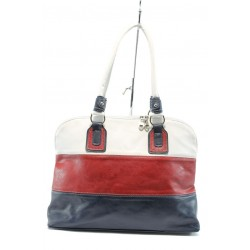 Българска дамска чанта АИ 021 бял-червен-син