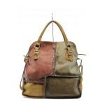 Дамска чанта от естествена кожа ИО 12 камел