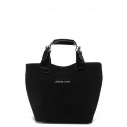 Стилна дамска чанта СБ 1130 черен велур