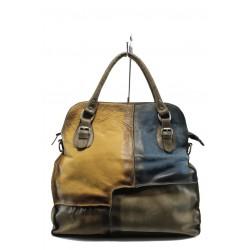 Дамска чанта от естествена кожа ИО 12 кафяв-син