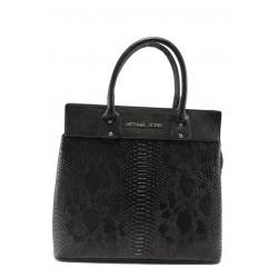 Стилна дамска чанта СБ 1122 черна кожа анаконда