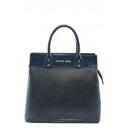Дамска чанта в съчетание кожа с лак СБ 1122 синя кожа с лак