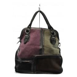 Дамска чанта от естествена кожа ИО 12 черен-лилав