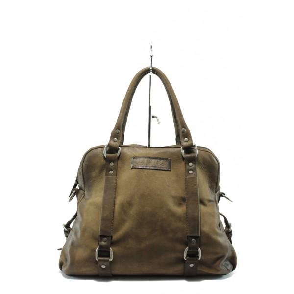 Дамска чанта от естествена кожа ИО 19 кафяв