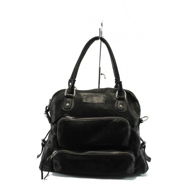 Дамска чанта от естествена кожа ИО 2 черна с опушен ефект