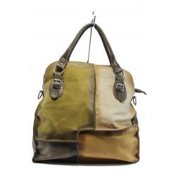 Дамска чанта от естествена кожа ИО 12 зелен-кафяв