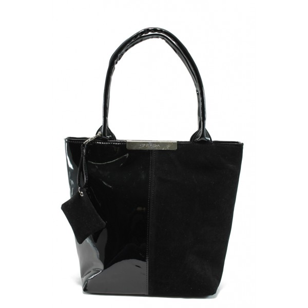 Българска дамска чанта АИ 1036 черен велур-лак