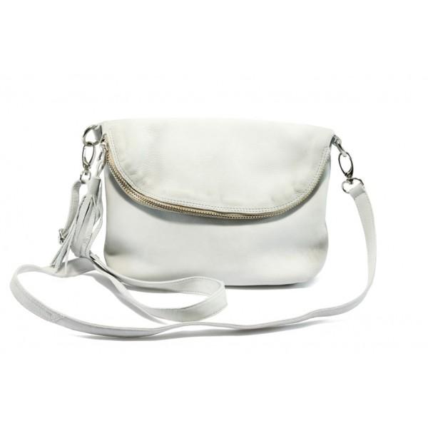 Дамска чанта от естествена кожа с опушен ефект ИО 28 бял