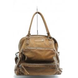 Дамска чанта от естествена кожа ИО 2 коняк