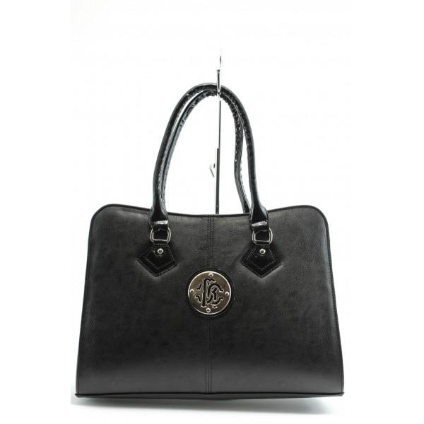 Елегантна дамска чанта СБ 1124 черна кожа