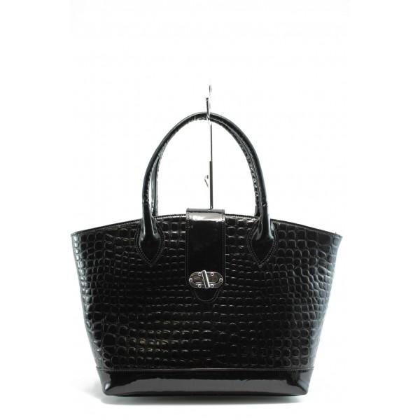 Елегантна дамска чанта СБ 1109 черен лак
