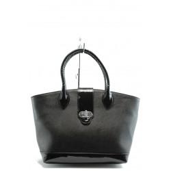 Елегантна дамска чанта СБ 1109 черна кожа
