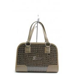 Елегантна дамска чанта СБ 1061 кафяв лак