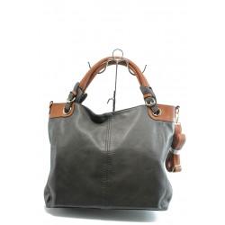 Дамска чанта с кафяви дръжки ФР 343 сива