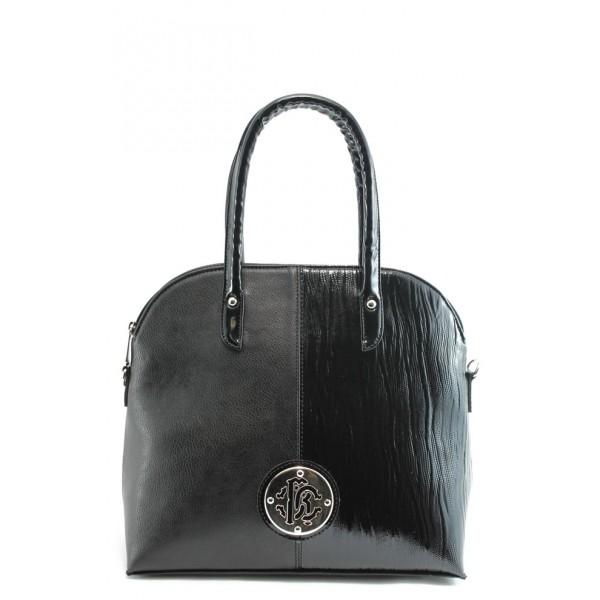 Стилна дамска чанта кожа и лак СБ 1120 черна кожа и лак