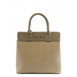Стилна дамска чанта СБ 1122 св.кафява с точки