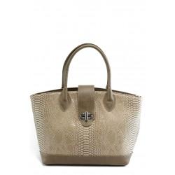 Стилна дамска чанта СБ 1109 бежова кожа анаконда