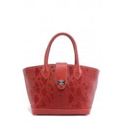 Стилна дамска чанта СБ 1109 червена кожа анаконда